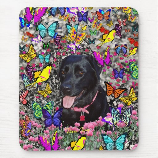 Abby en mariposas - perro negro del laboratorio alfombrillas de ratones
