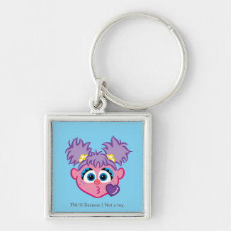 Abby Face Throwing a Kiss Silver-Colored Square Keychain