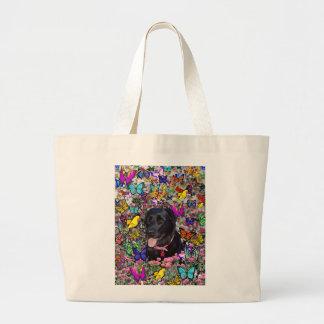 Abby in Butterflies - Black Lab Dog Jumbo Tote Bag