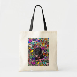 Abby in Butterflies - Black Lab Dog Budget Tote Bag