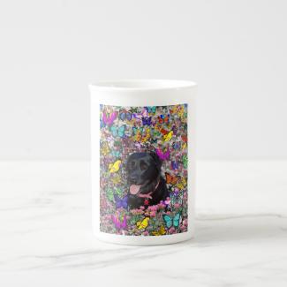 Abby in Butterflies - Black Lab Dog Bone China Mug