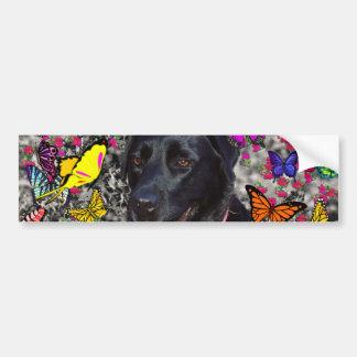 Abby in Butterflies - Black Lab Dog Bumper Sticker