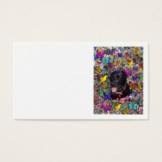 Abby in Butterflies - Black Lab Dog Business Card