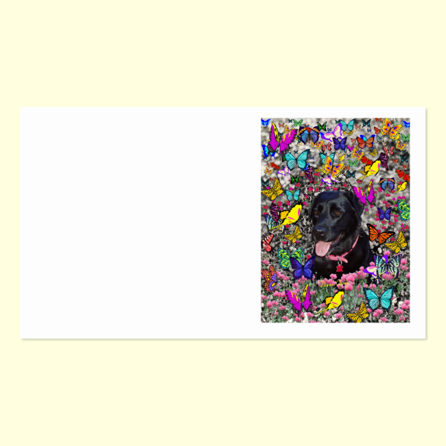 Abby in Butterflies - Black Lab Dog Business Card Template