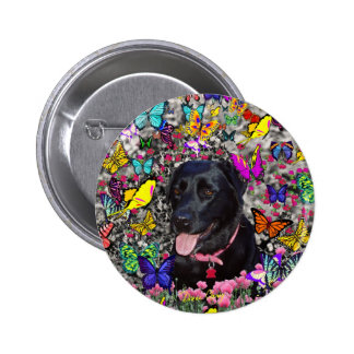 Abby in Butterflies - Black Lab Dog 2 Inch Round Button