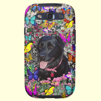 Abby in Butterflies - Black Lab Dog Galaxy SIII Covers