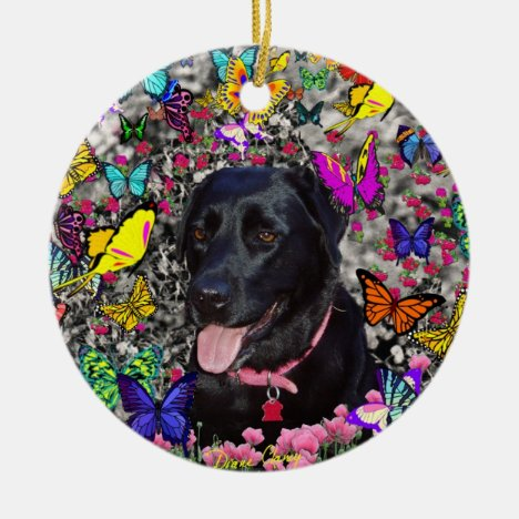 Abby in Butterflies - Black Lab Dog Ceramic Ornament