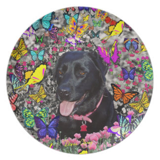 Abby in Butterflies - Black Lab Dog Dinner Plate