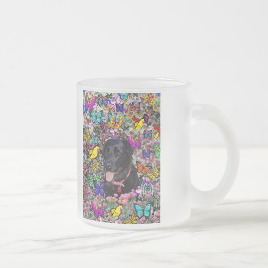 Abby in Butterflies - Black Lab Dog Frosted Glass Coffee Mug