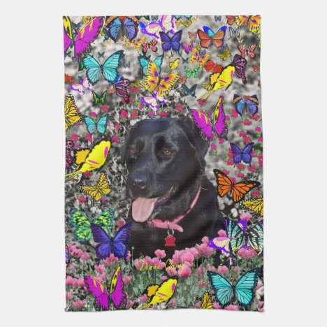 Abby in Butterflies - Black Lab Dog Hand Towel