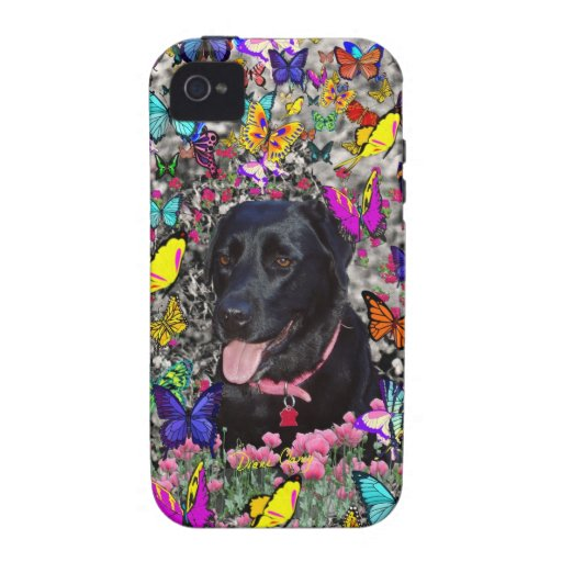 Abby in Butterflies - Black Lab Dog iPhone 4/4S Covers