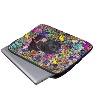 Abby in Butterflies - Black Lab Dog Laptop Sleeves