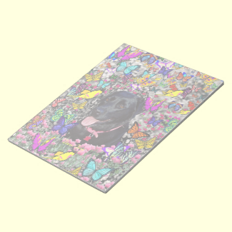 Abby in Butterflies - Black Lab Dog Memo Notepads