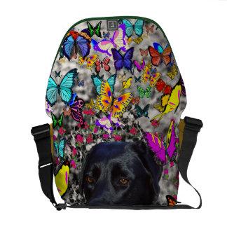 Abby in Butterflies - Black Lab Dog Messenger Bag