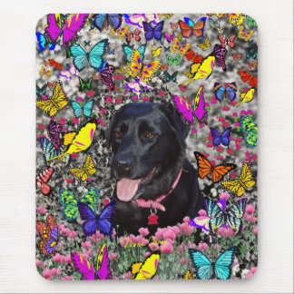Abby in Butterflies - Black Lab Dog Mouse Pad