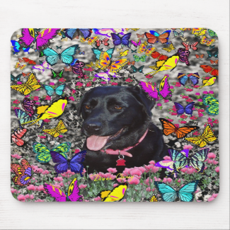 Abby in Butterflies - Black Lab Dog Mouse Pads
