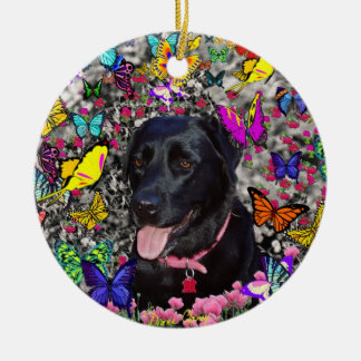 Abby in Butterflies - Black Lab Dog Christmas Tree Ornaments