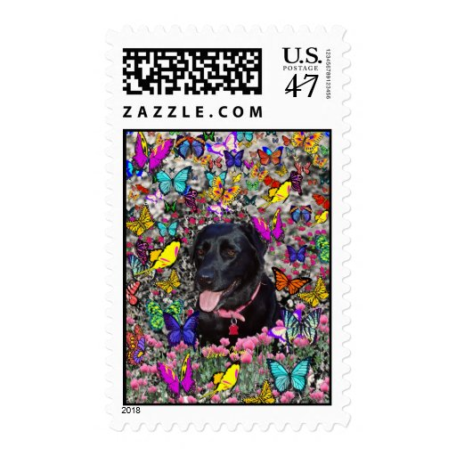 Abby in Butterflies - Black Lab Dog Postage