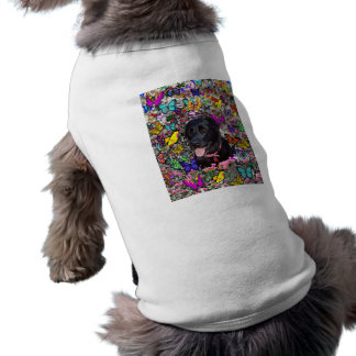 Abby in Butterflies - Black Lab Dog Shirt