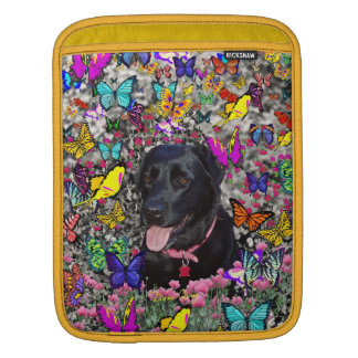 Abby in Butterflies - Black Lab Dog Sleeve For iPads