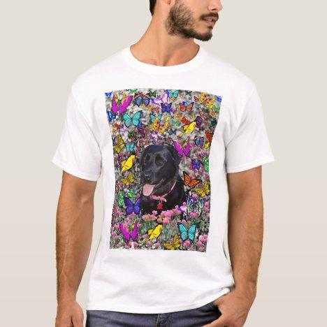 Abby in Butterflies - Black Lab Dog T-Shirt
