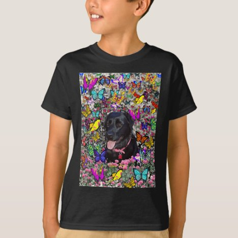Abby in Butterflies - Black Lab Dog T-Shirt