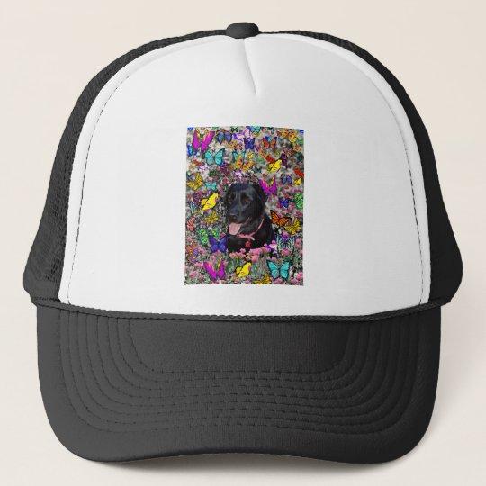 Abby in Butterflies - Black Lab Dog Trucker Hat