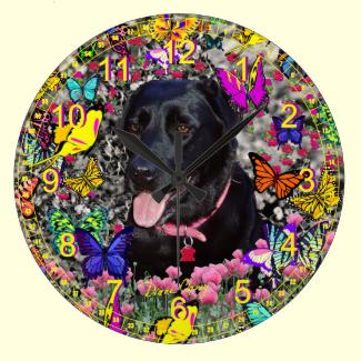 Abby in Butterflies - Black Lab Retriever Wall Clock