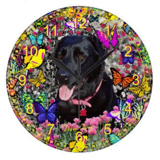 Abby in Butterflies - Black Lab Retriever Large Clock