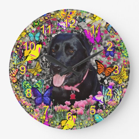 Abby in Butterflies - Black Lab Retriever Large Clock