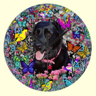 Abby in Butterflies - Black Labrador Dog Wallclocks