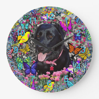 Abby in Butterflies - Black Labrador Dog Large Clock