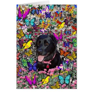 Abby in Butterflies Card - Black Labrador card
