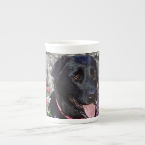 Abby in Flowers – Black Lab Dog Bone China Mug