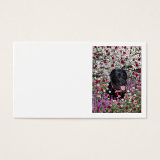 Abby in Flowers – Black Lab Dog Business Card