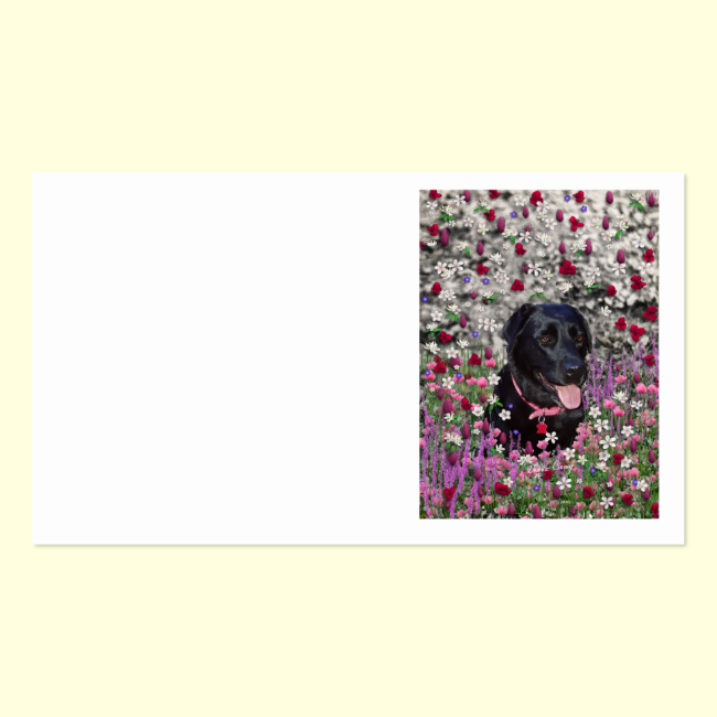 Abby in Flowers – Black Lab Dog Business Card Template