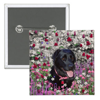 Abby in Flowers – Black Lab Dog 2 Inch Square Button