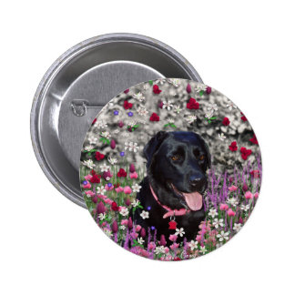 Abby in Flowers – Black Lab Dog 2 Inch Round Button
