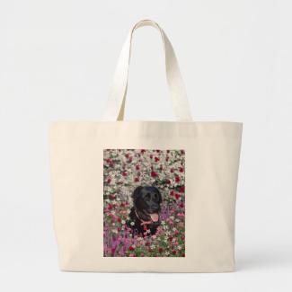 Abby in Flowers – Black Lab Dog Canvas Bags