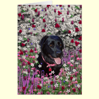 Abby in Flowers – Black Lab Dog Card
