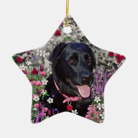 Abby in Flowers – Black Lab Dog Ceramic Ornament