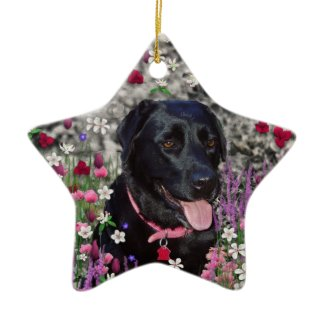Abby in Flowers – Black Lab Dog Christmas Ornament