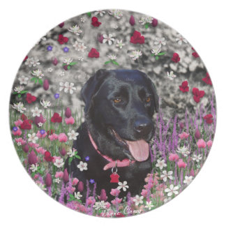 Abby in Flowers – Black Lab Dog Dinner Plate