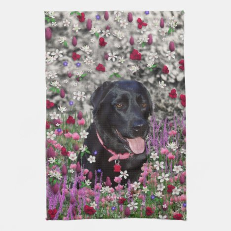 Abby in Flowers – Black Lab Dog Hand Towel