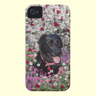 Abby in Flowers – Black Lab Dog iPhone 4 Case