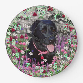 Abby in Flowers – Black Lab Dog Large Clock