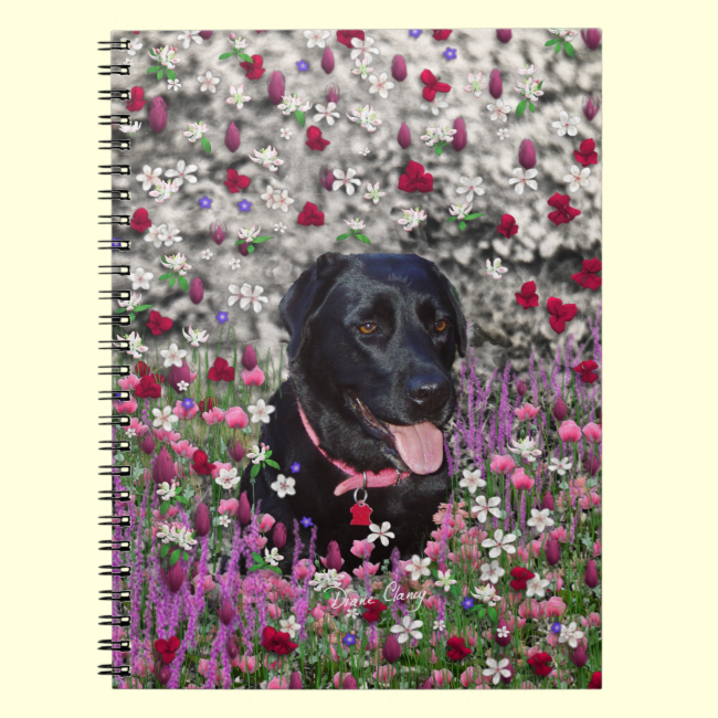 Abby in Flowers – Black Lab Dog Notebooks