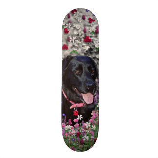 Abby in Flowers – Black Lab Dog Skateboard Deck