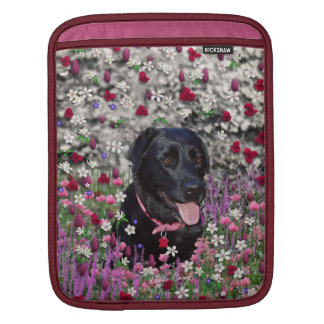 Abby in Flowers – Black Lab Dog Sleeve For iPads