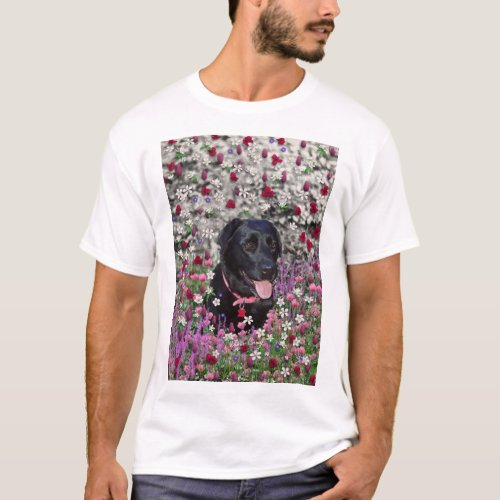 Abby in Flowers – Black Lab Dog T-Shirt